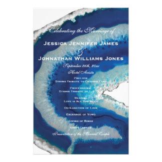 Programas azules del boda de Geode Folleto 14 X 21,6 Cm