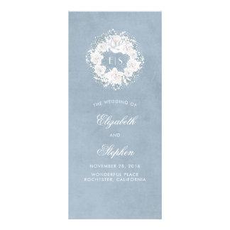 Programas azules polvorientos del monograma floral