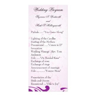 Programas contemporáneos del boda - púrpura tarjetas publicitarias