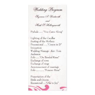Programas contemporáneos del boda - rosa lonas personalizadas