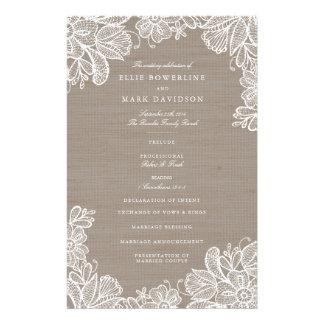 Programas de la arpillera y del boda del cordón folleto 14 x 21,6 cm