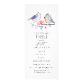 programas del boda de los pares de los pájaros del tarjeta publicitaria a todo color