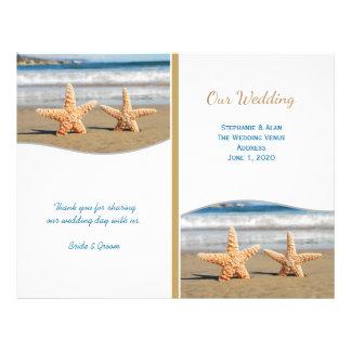 Programas del boda de playa de los pares de las flyer