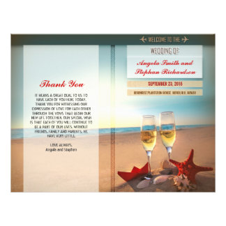 programas del boda de playa folleto 21,6 x 28 cm