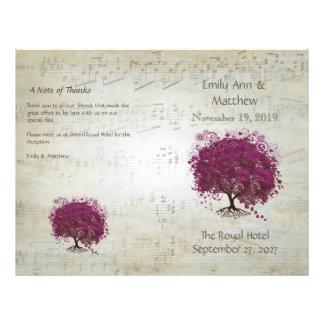 Programas del boda del árbol de la hoja del folleto 21,6 x 28 cm