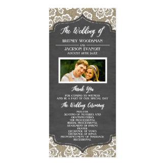 Programas del boda del cordón de la arpillera de tarjetas publicitarias