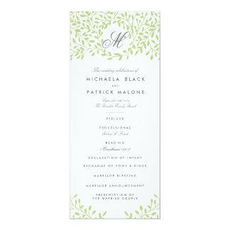 Programas del boda del jardín secreto - verde invitación 10,1 x 23,5 cm