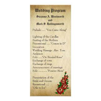 Programas del boda del rosa rojo del tatuaje, plantilla de lona