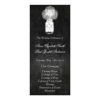 Programas del boda del tarro de albañil de la plantilla de lona