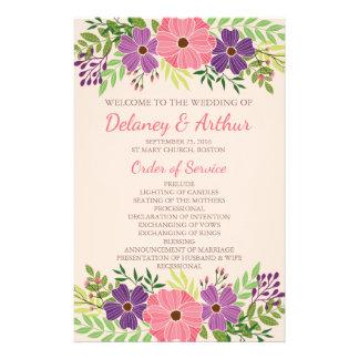 Programas del boda en tema de la flor salvaje