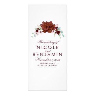 Programas elegantes florales del boda de Borgoña