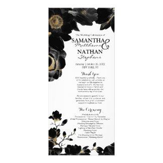 Programas florales negros acentuados de oro del