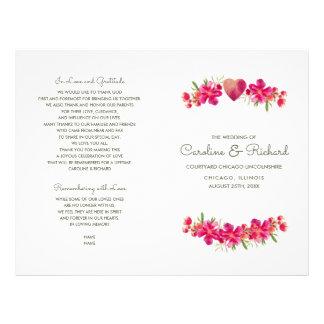 Programas florales románticos del boda de la