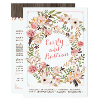 Programas florales rústicos del boda de la