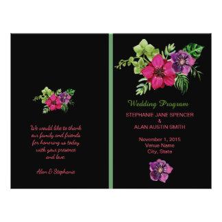 Programas florales verdes púrpuras del boda de las