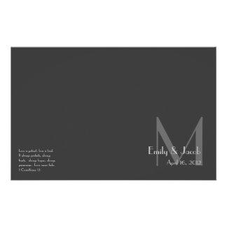 Programas grises modernos del boda del monograma folleto 14 x 21,6 cm