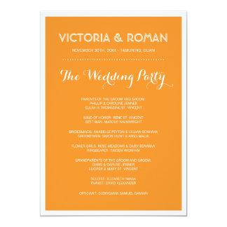 Programas minimalistas modernos anaranjados del invitación 12,7 x 17,8 cm