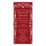 Programas rojos del boda del Flourish adornado ele Diseño De Tarjeta Publicitaria