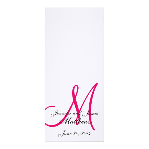 Programas rosados blancos del boda del monograma s invitación personalizada