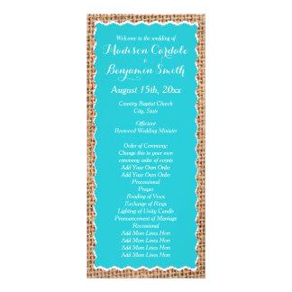 Programas rústicos del boda de la turquesa de la diseño de tarjeta publicitaria