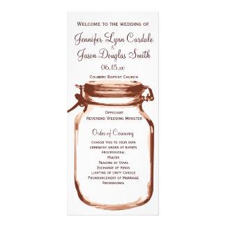 Programas rústicos del boda del tarro de albañil