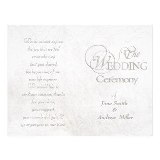Programas sucios del boda del vintage blanco folleto 21,6 x 28 cm