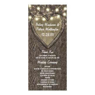 Programas tallados rústicos del boda del país del tarjeta publicitaria personalizada