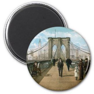 """""""promenade"""" del puente de Brooklyn, New York City Imán Redondo 5 Cm"""
