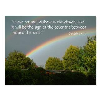 Promesa del arco iris, postal de la génesis 9 v el