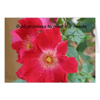 Promesas de dios de cubrir nuestras necesidades tarjeta de felicitación