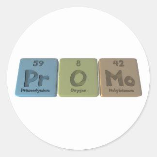 Promo-Pr-O-Mo-Praseodymium-Oxygen-Molybdenum.png Pegatina Redonda