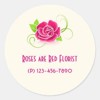 Promoción del negocio - color de rosa rosado pegatina redonda