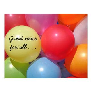 Promoción feliz del globo colorido folleto 21,6 x 28 cm