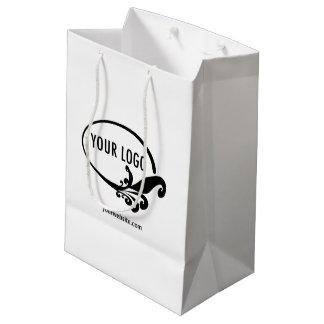 Promocional calificada logotipo de Custom Gift Bag Bolsa De Regalo Mediana