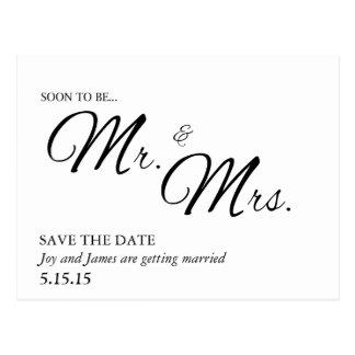 Pronto para ser Sr. y señora Save la postal de la