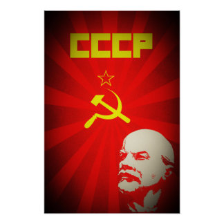 propa rojo comunista de Unión Soviética Lenin Póster