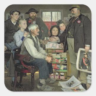 Propaganda 1889 calcomanías cuadradas