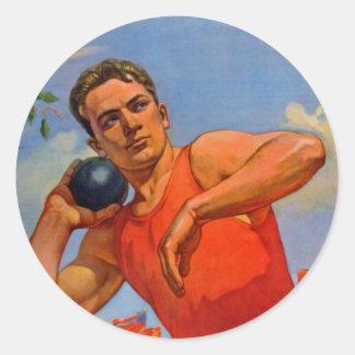 Propaganda atlética soviética etiqueta redonda