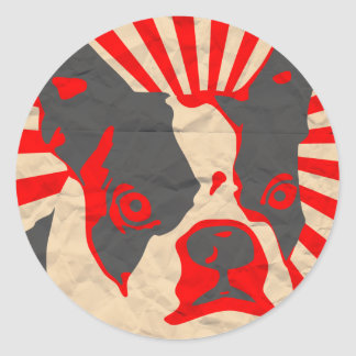 Propaganda Boston Terrier Pegatina Redonda