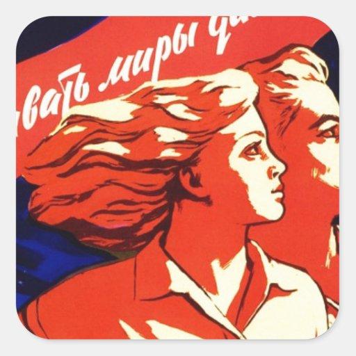 Propaganda comunista del espacio del vintage ruso calcomania cuadradas personalizadas