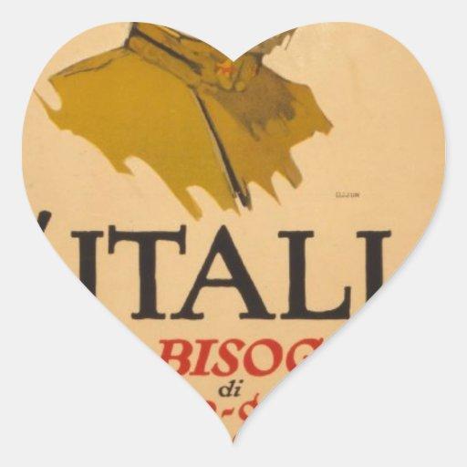 propaganda de Italia del poster ww1 Calcomanía Corazón