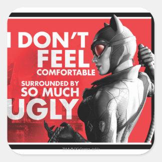 Propaganda de la CA - Catwoman incómodo Pegatina Cuadrada