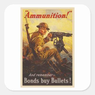 Propaganda de la munición WWI de los enlaces de Pegatina Cuadrada