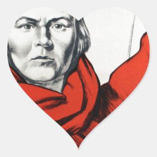 Propaganda del comunismo de Rusia de la madre Pegatinas Corazon
