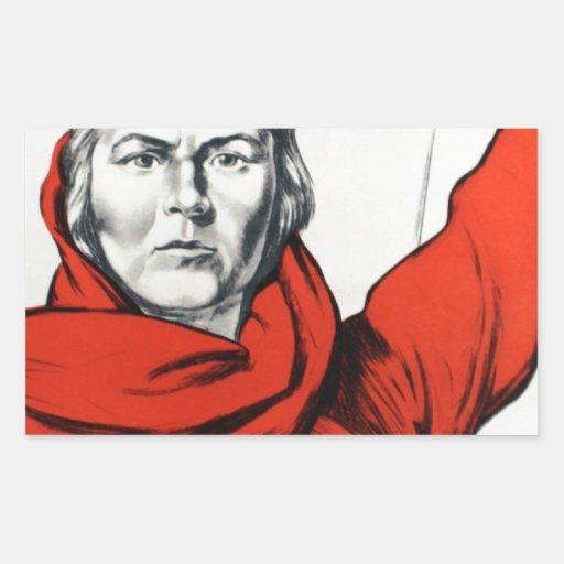 Propaganda del comunismo de Rusia de la madre Rectangular Pegatina