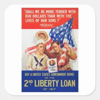 Propaganda del préstamo 1917 WWI de la libertad de Pegatina Cuadrada