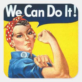 Propaganda del vintage del remachador de Rosie Calcomanía Cuadrada Personalizada