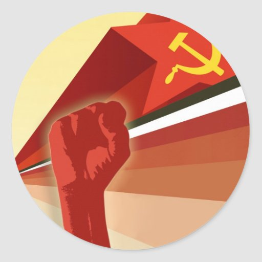 Propaganda rusa del comunista del vintage pegatina redonda