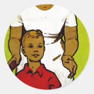 Propaganda soviética de la familia etiqueta redonda