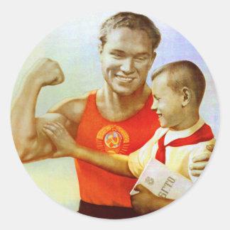 Propaganda soviética del ejercicio etiquetas redondas